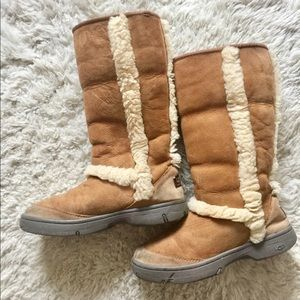 Hard rubber sole Uggs, tall